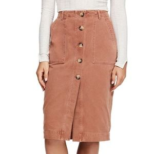 Free People Womens Button Mid Length Utility Skirt